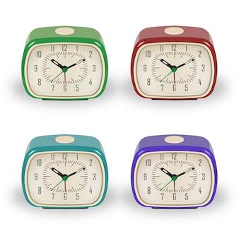 Retro vintage alarm clock set
