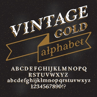 Retro vintage alphabet font. custom type letters and numbers on a dark grunge background.