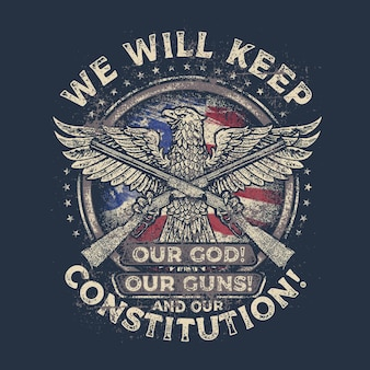 Retro vintage america bald eagle 2nd amendment tshirt design