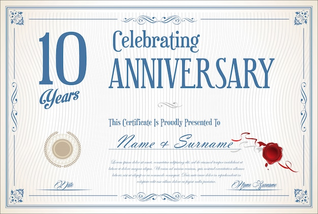 Retro vintage anniversary 10 years