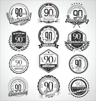 Retro vintage anniversary badges and labels collection