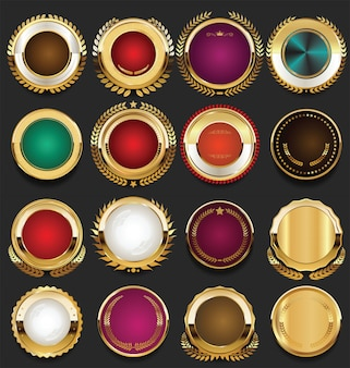 Retro vintage badges golden collection vector illustration