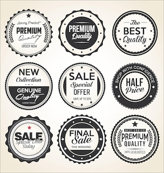 Retro vintage badges and labels black and white collection