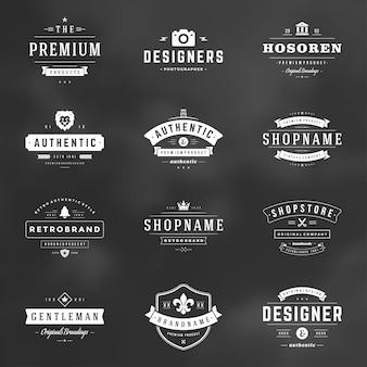 Retro vintage badges and logos set vector design elements
