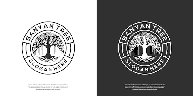 レトロなヴィンテージのガジュマルの木のロゴのテンプレート