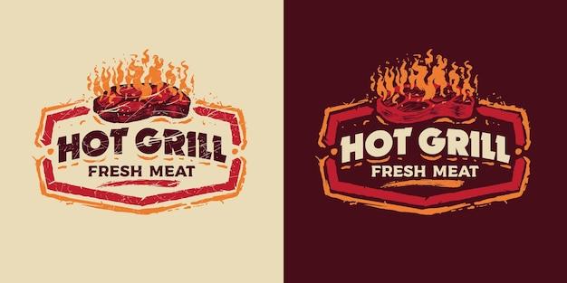 Ретро винтаж барбекю значок эмблема логотип горячий гриль свежее мясо