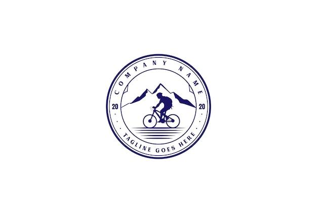 Retro vintage bike bicycle downhill sport club badge emblem logo design vector