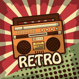 Retro vintage boombox radio stereo cassette