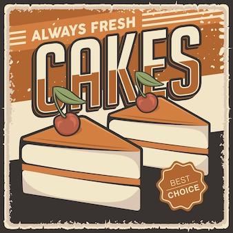 Ретро винтаж торты плакат знак