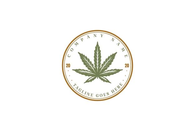 Retro vintage cannabis marijuana ganja leaf for hemp cbd oil label logo design vector