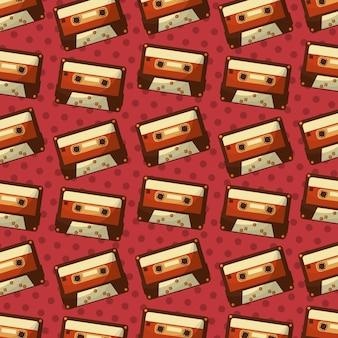 Retro vintage cassette music record pattern