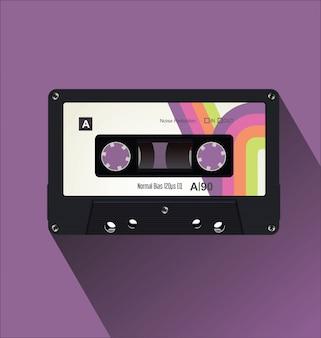 Retro vintage cassette tape flat concept vector illustration