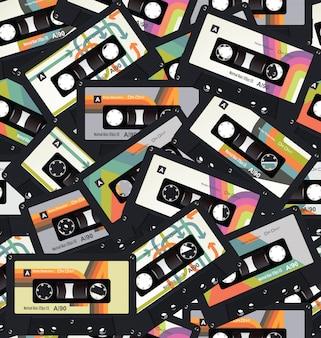 Retro vintage cassette tape seamless background vector
