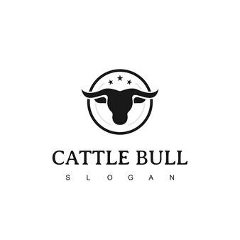 Retro vintage cattle bull emblem label logo design template