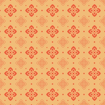 Retro vintage chinese traditional pattern seamless background curve cross flower frame line round dot