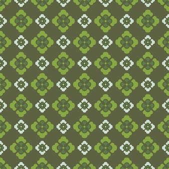 레트로 빈티지 중국 전통 패턴 완벽 한 배경 곡선 크로스 녹색 잎