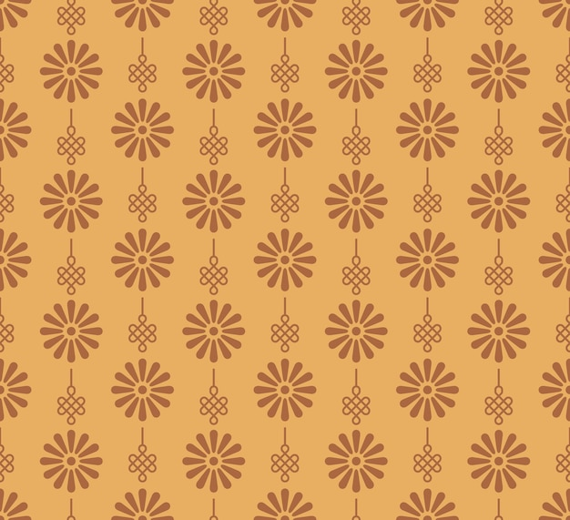Retro vintage chinese traditional pattern seamless background daisy