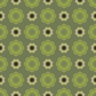 Ретро винтаж китайский традиционный узор бесшовный фон зеленая спираль круглый крест цветочная рамка