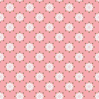 レトロなヴィンテージ中国の伝統的なパターンのシームレスな背景のピンクの白い花
