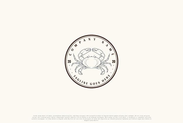 Retro vintage circular crab for seafood restaurant or product label logo design vector