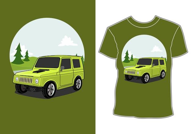 Ретро, винтаж, классический автомобиль, приключение в горах, дизайн футболки