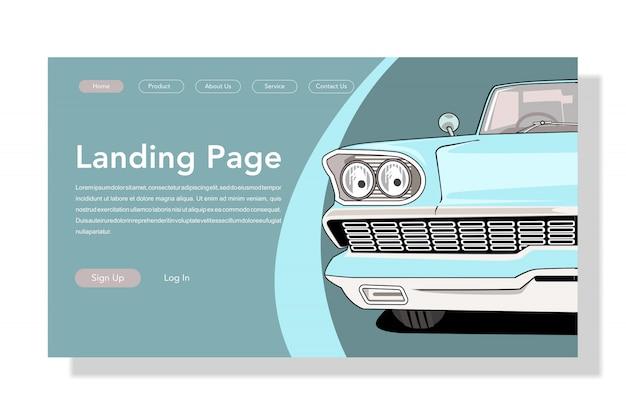 Retro,vintage,classic car landing page