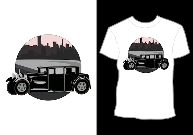 Retro,vintage,classic,car and summer shirt design with city view