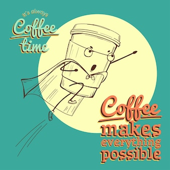 Ретро винтаж кофе иллюстрация с вектором супергероя
