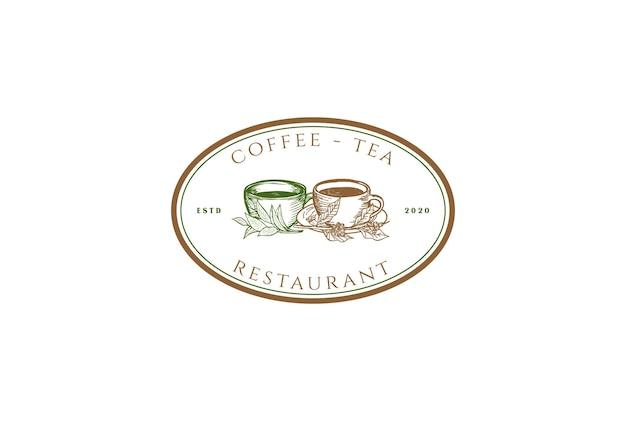 レトロなヴィンテージコーヒーティーカップマグリーフカフェレストランロゴデザインベクトル