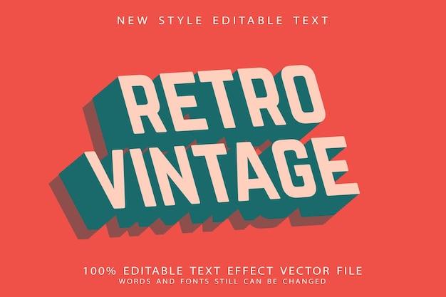Ретро винтажный редактируемый текстовый эффект с тиснением в винтажном стиле