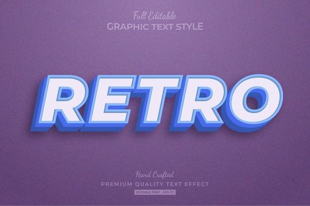 레트로 빈티지 편집 가능한 텍스트 효과 글꼴 스타일