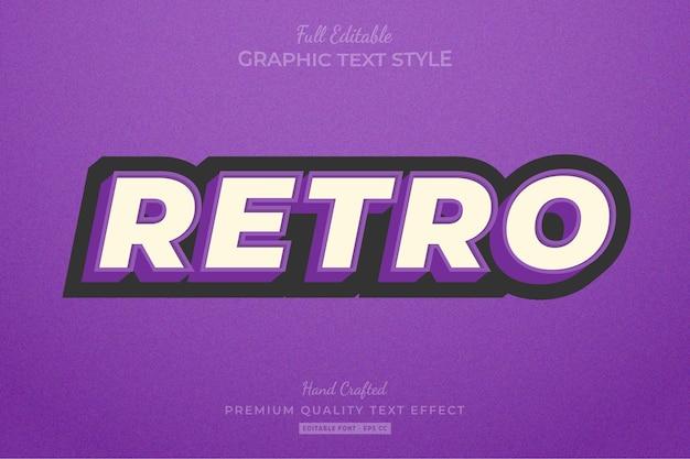 Retro vintage editable text effect font style