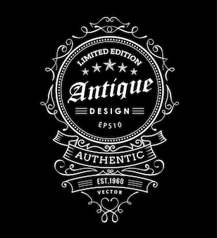 Retro vintage frame design western label typography