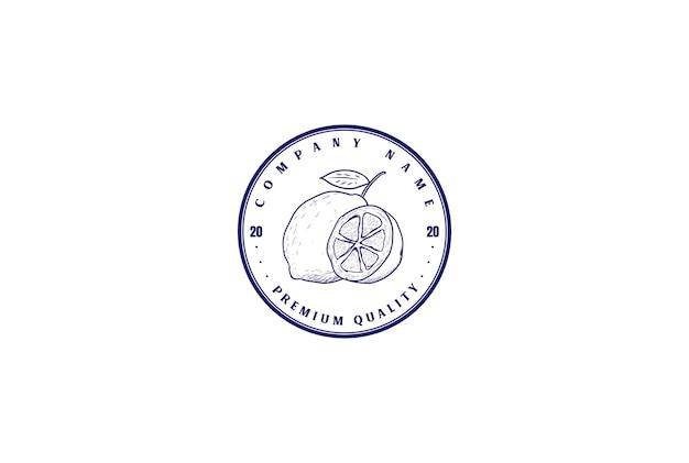 Retro vintage fresh lemon lime orange fruit label logo design vector