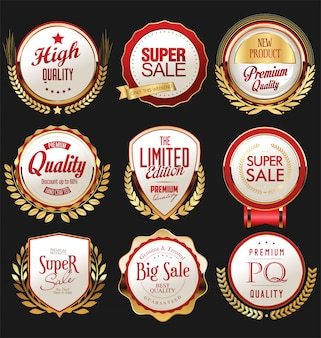 Retro vintage gold and red badges and labels collection
