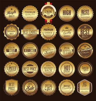 Retro vintage golden badge and label collection