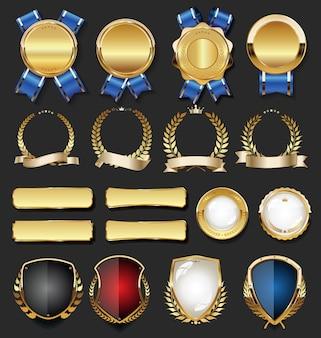 Ретро старинные золотые значки и ярлыки