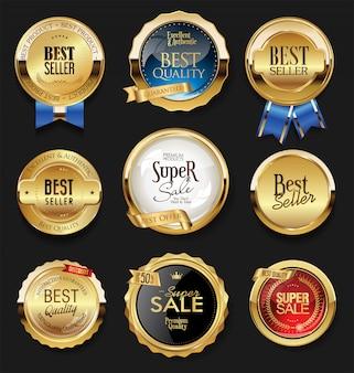 Ретро старинные золотые значки и ярлыки Premium векторы