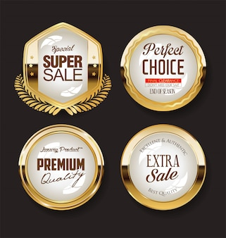 Retro vintage golden badges collection