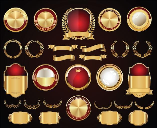 레트로 빈티지 황금 배지 라벨 및 리본