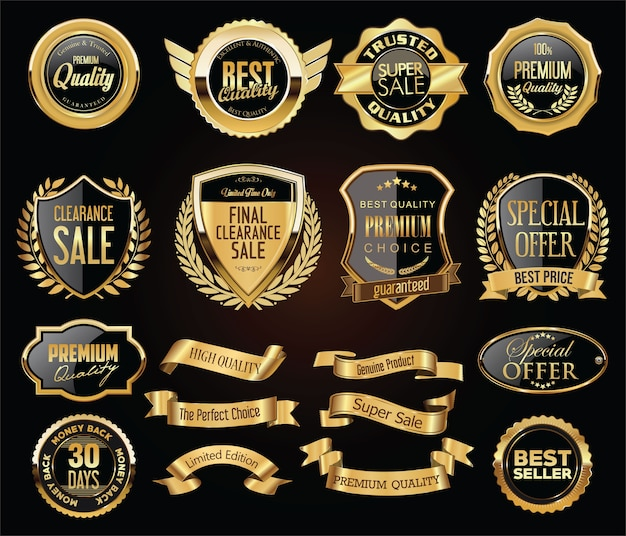 Retro vintage golden badges labels badges and shields collection