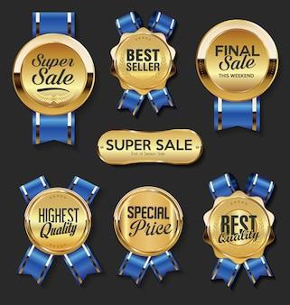 Retro vintage golden badges and labels