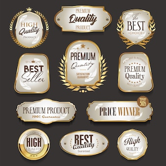 Retro vintage golden labels and badges collection