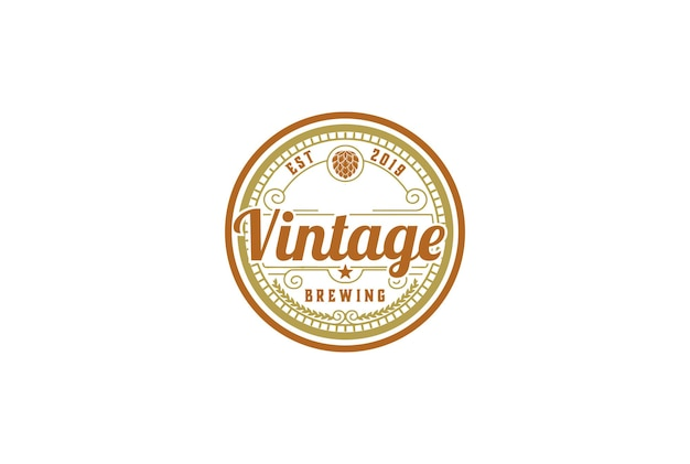 Retro vintage hop for craft beer brewing brewery logo design vector