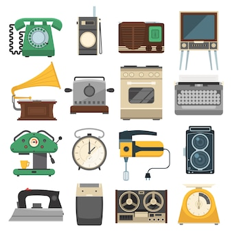 Retro vintage household appliances set