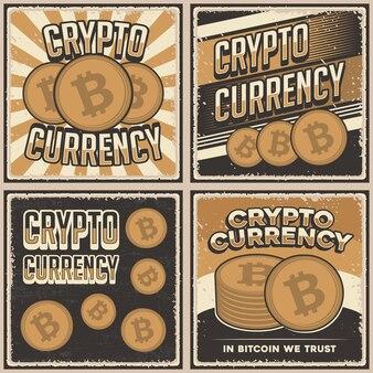 Cryptocurrency의 레트로 빈티지 일러스트 그래픽