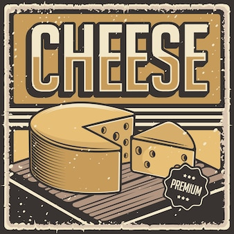 Retro vintage illustration vector graphic of cheese fit for wood poster or signage