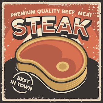 Retro vintage illustration vector graphic of fresh beef meat fit for wood poster signage wall decor
