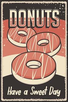 나무 포스터 또는 간판에 맞는 도넛의 레트로 빈티지 그림 벡터 그래픽
