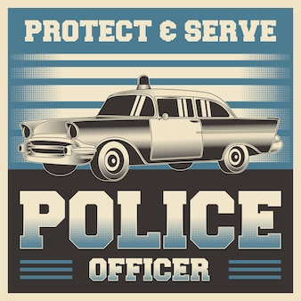 Ретро винтаж иллюстрация векторной графики полицейского, пригодного для деревянного плаката или вывесок